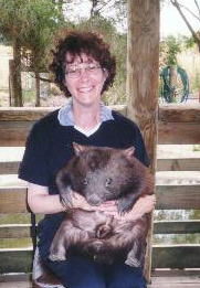 Me holding Mathilda the Wombat